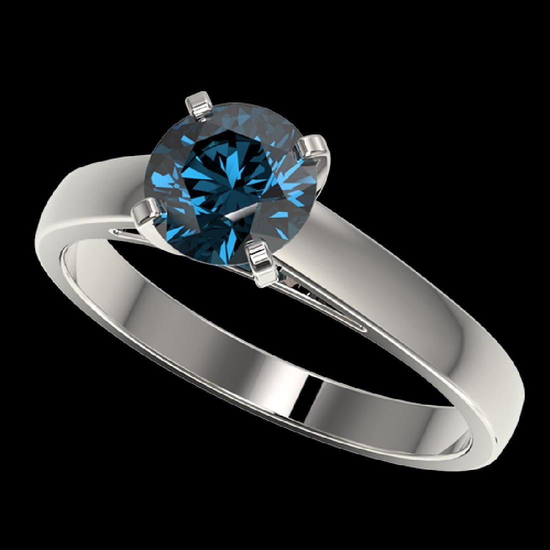 1.22 CTW Certified Intense Blue SI Diamond Solitaire