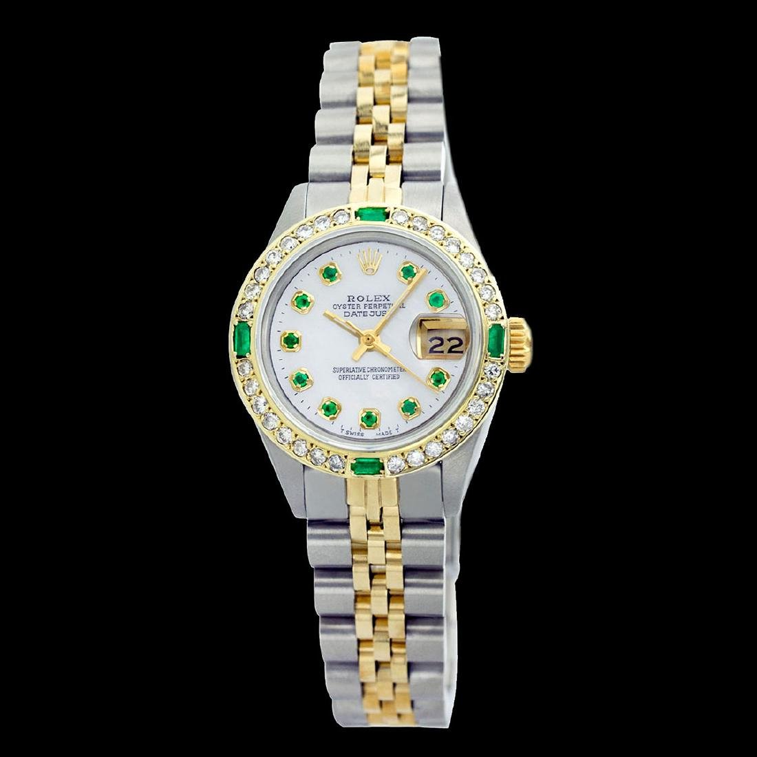 Rolex Ladies Two Tone 14K Gold/SS, Diam/Emerald Dial & - 2