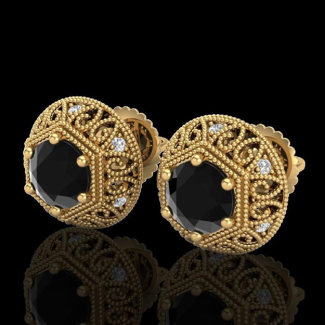 1.31 CTW Fancy Black Diamond Solitaire Art Deco Stud