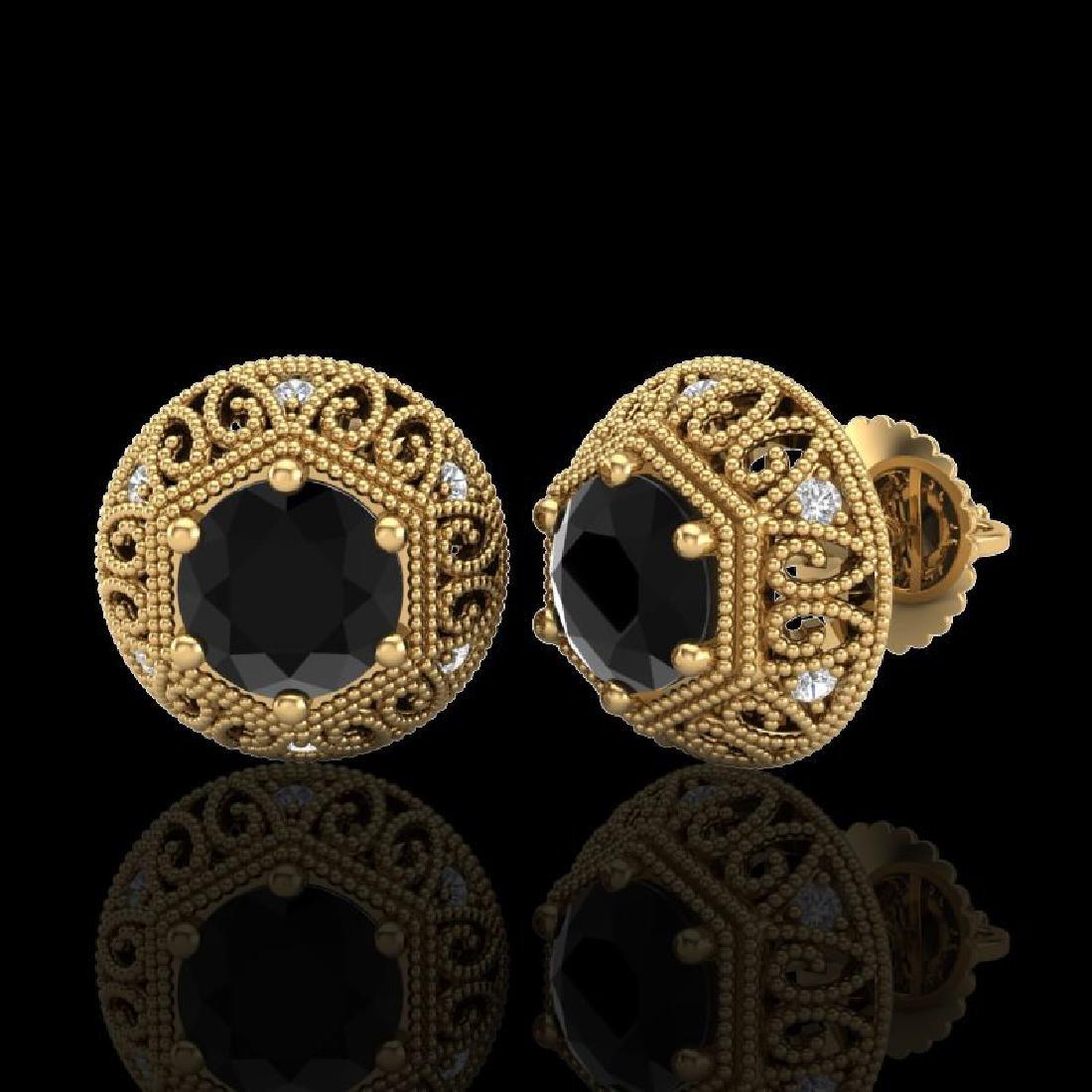 1.31 CTW Fancy Black Diamond Solitaire Art Deco Stud - 2