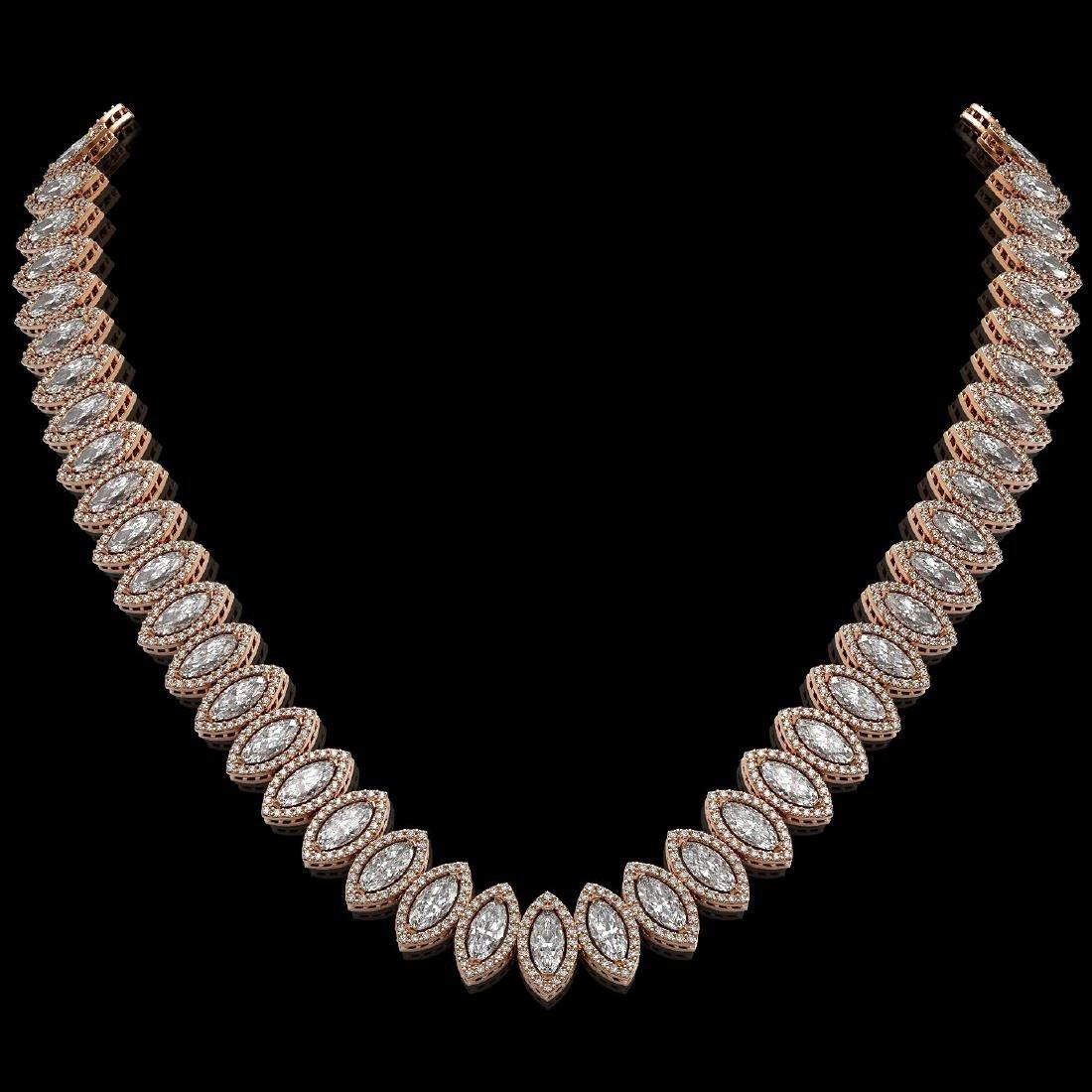 39.68 CTW Marquise Diamond Designer Necklace 18K Rose