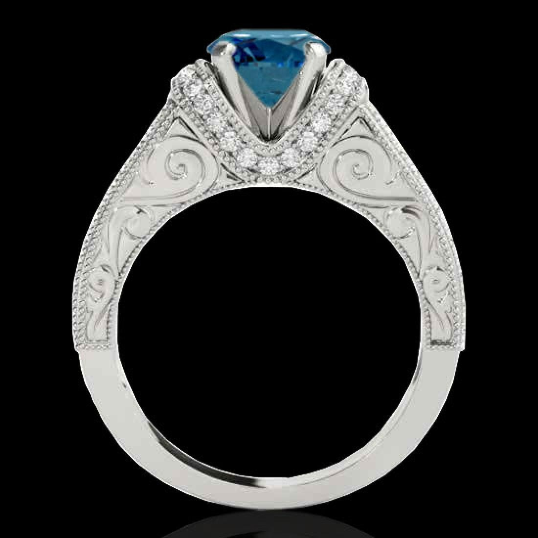 1.75 CTW SI Certified Blue Diamond Solitaire Antique - 2