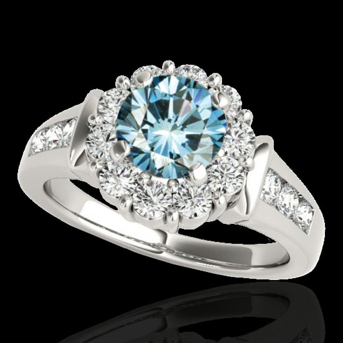 1.9 CTW SI Certified Fancy Blue Diamond Solitaire Halo