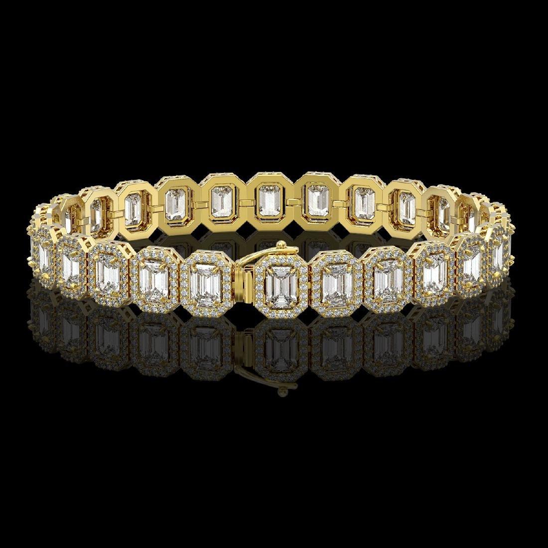 17.28 CTW Emerald Cut Diamond Designer Bracelet 18K - 2