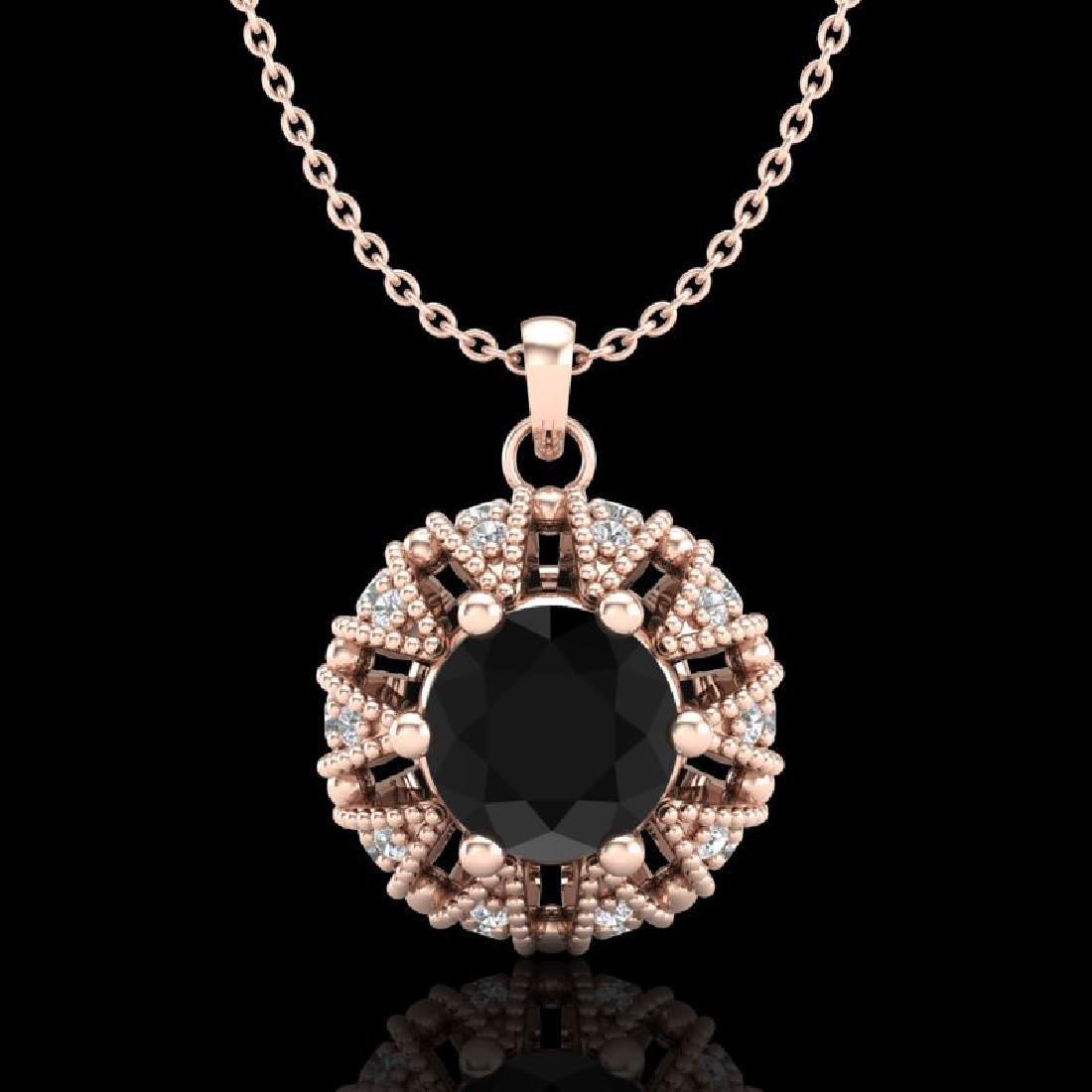 1.2 CTW Fancy Black Diamond Art Deco Micro Pave Stud