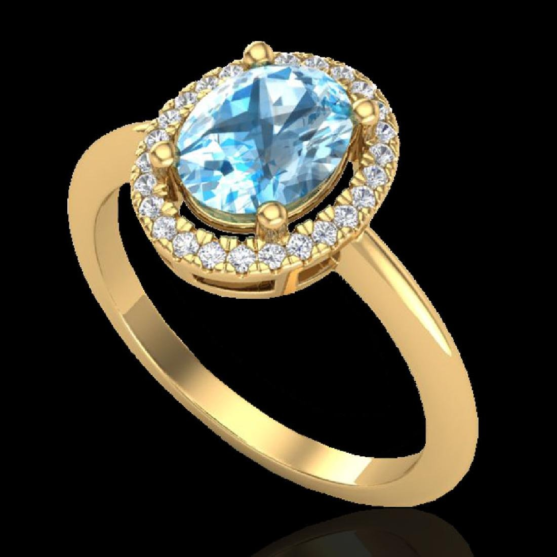 2 CTW Sky Blue Topaz & Micro VS/SI Diamond Ring - 2