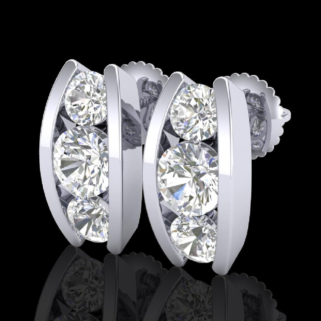 2.18 CTW VS/SI Diamond Solitaire Art Deco Stud Earrings