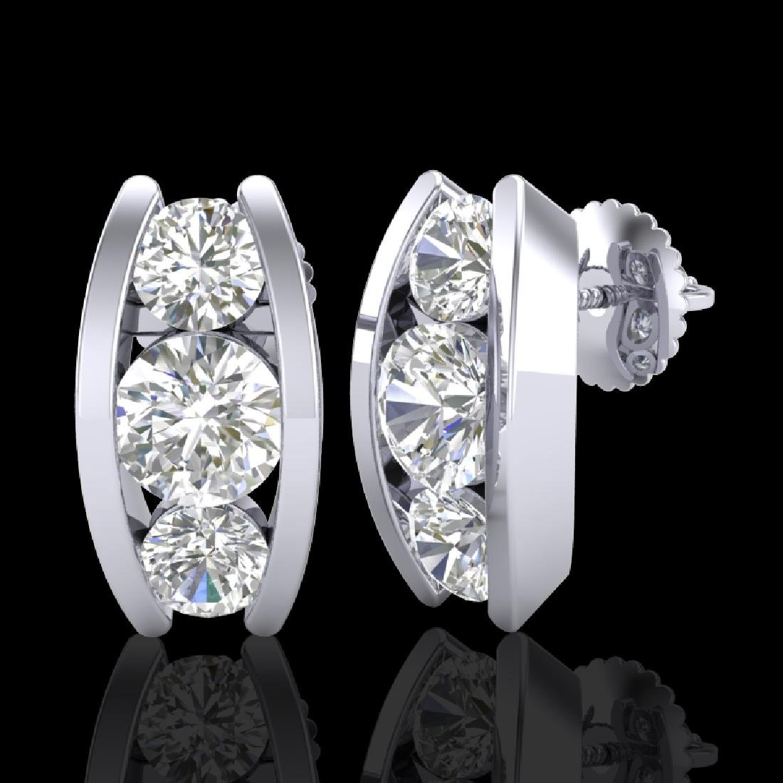 2.18 CTW VS/SI Diamond Solitaire Art Deco Stud Earrings - 2