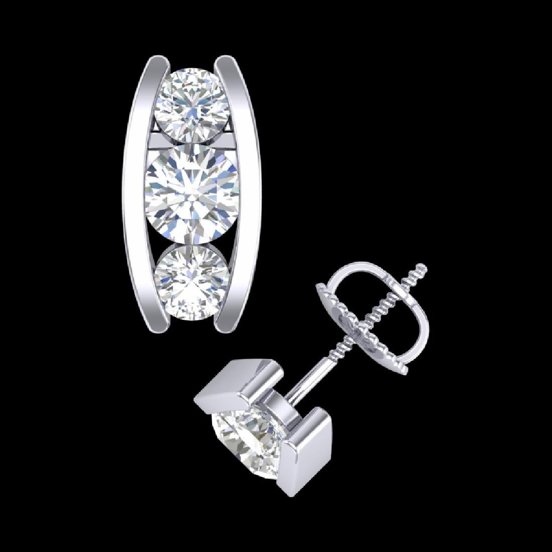 2.18 CTW VS/SI Diamond Solitaire Art Deco Stud Earrings - 3