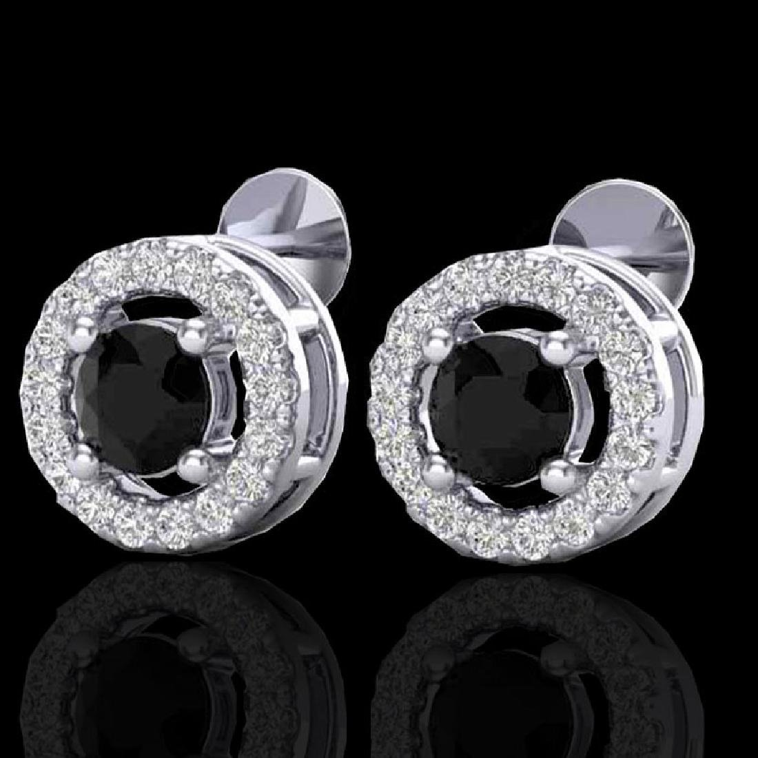 0.75 CTW Micro Pave VS/SI Diamond Earrings Halo 18K