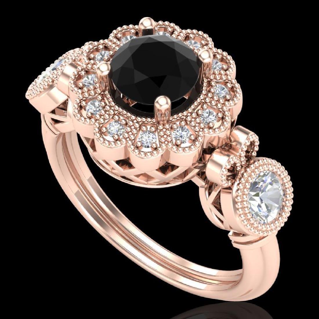 1.5 CTW Fancy Black Diamond Solitaire Art Deco 3 Stone