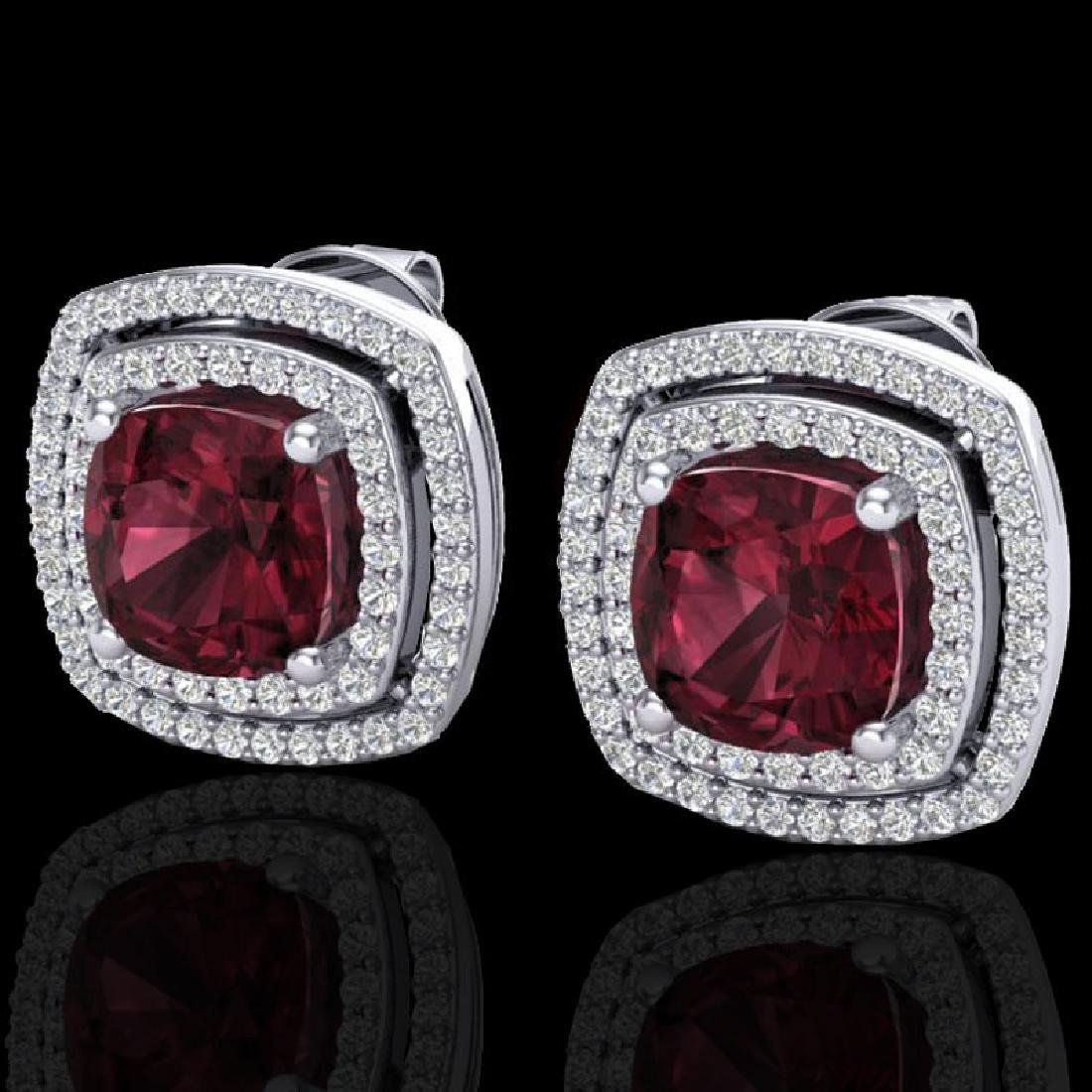 4.55 CTW Garnet & Micro Pave VS/SI Diamond Halo