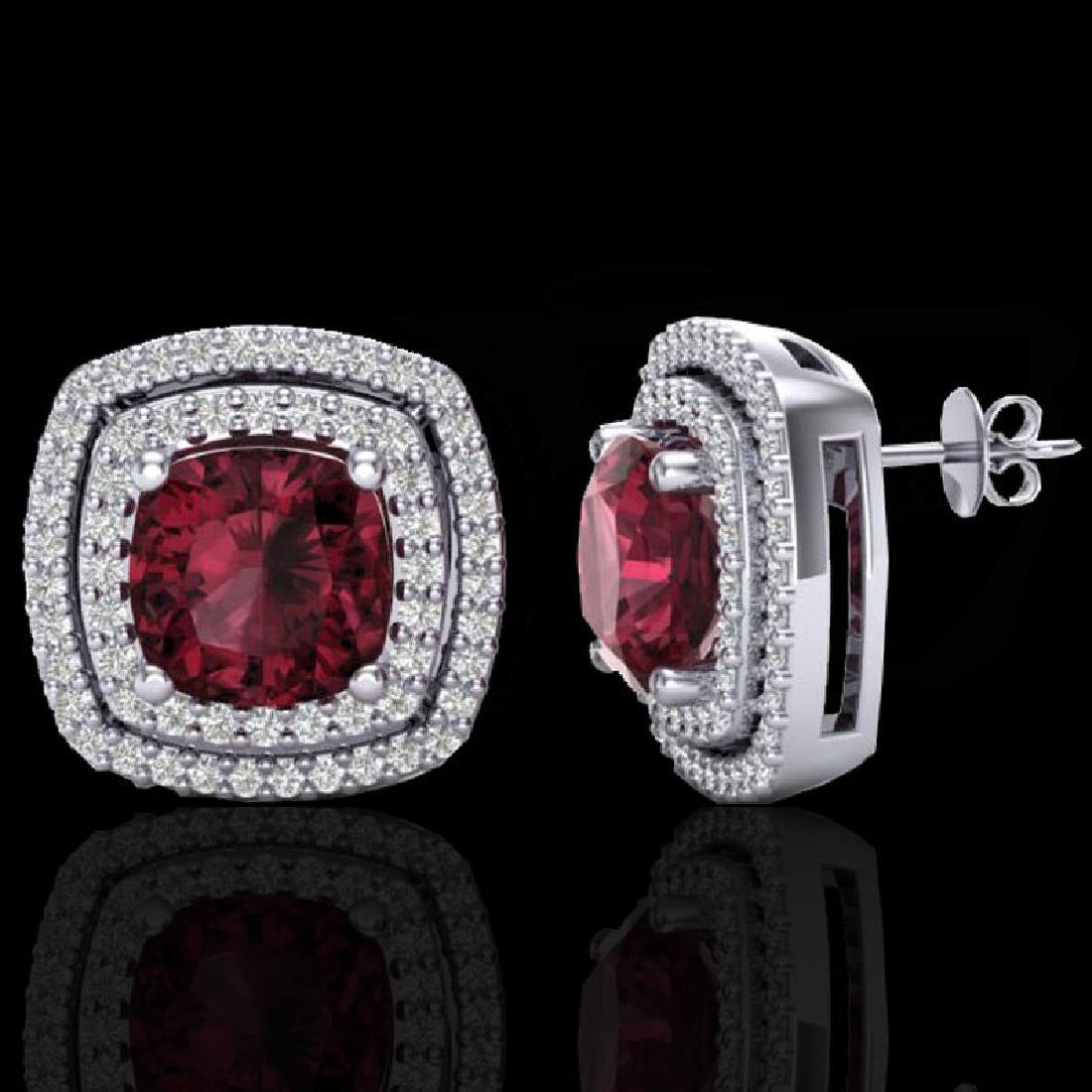 4.55 CTW Garnet & Micro Pave VS/SI Diamond Halo - 2