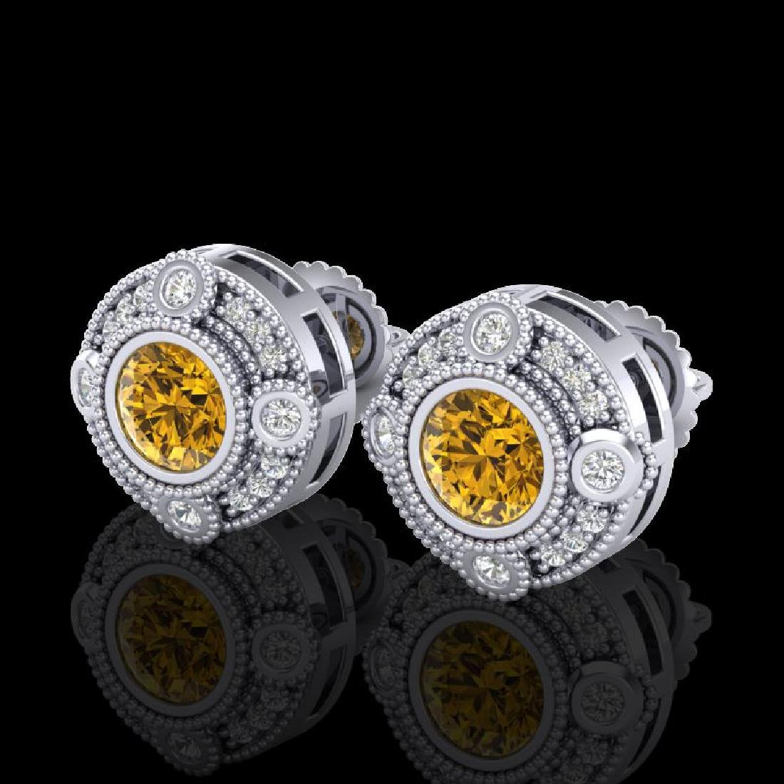 1.5 CTW Intense Fancy Yellow Diamond Art Deco Stud