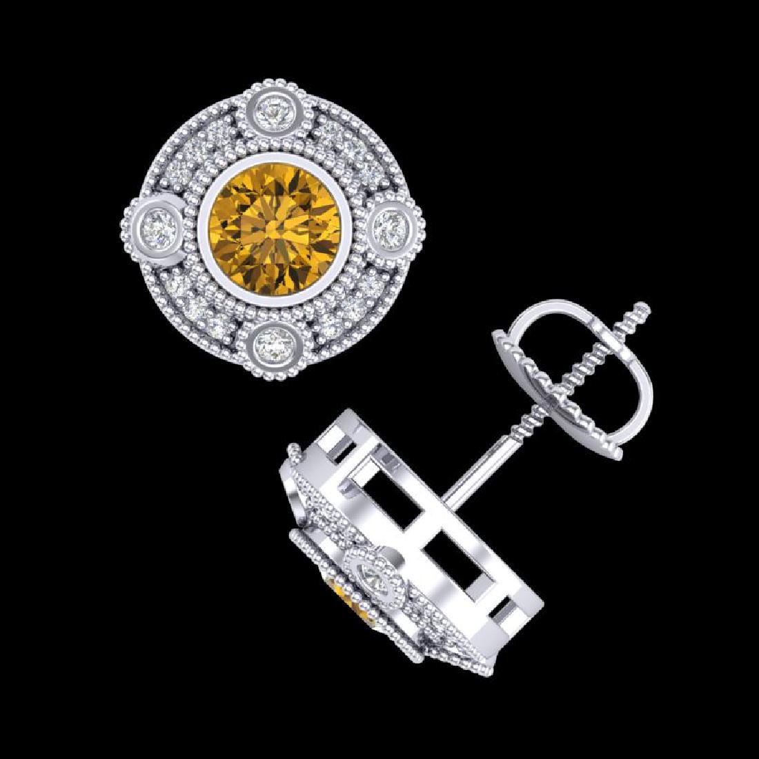 1.5 CTW Intense Fancy Yellow Diamond Art Deco Stud - 3