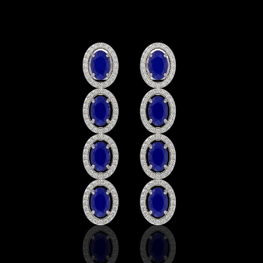 6.47 CTW Sapphire & Diamond Halo Earrings 10K White