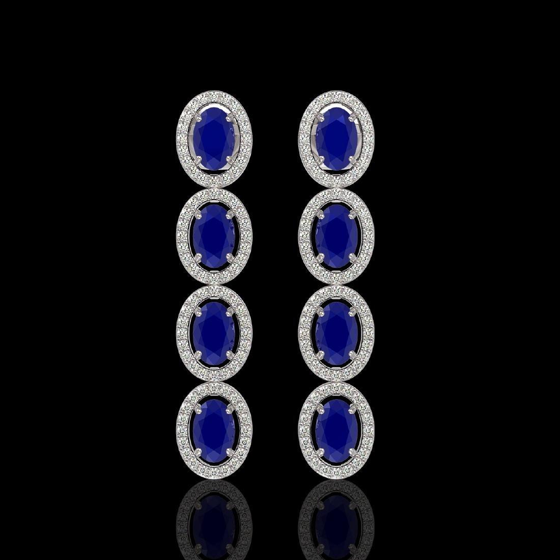 6.47 CTW Sapphire & Diamond Halo Earrings 10K White