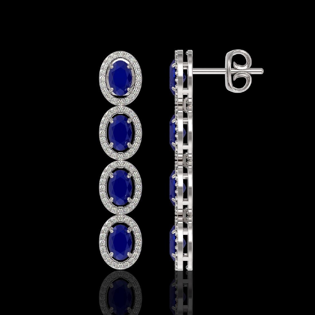 6.47 CTW Sapphire & Diamond Halo Earrings 10K White - 2