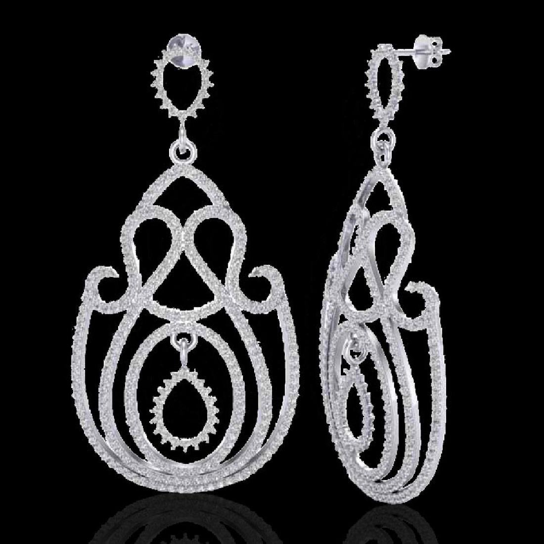 3.50 CTW Micro Pave Designer VS/SI Diamond Earrings 14K