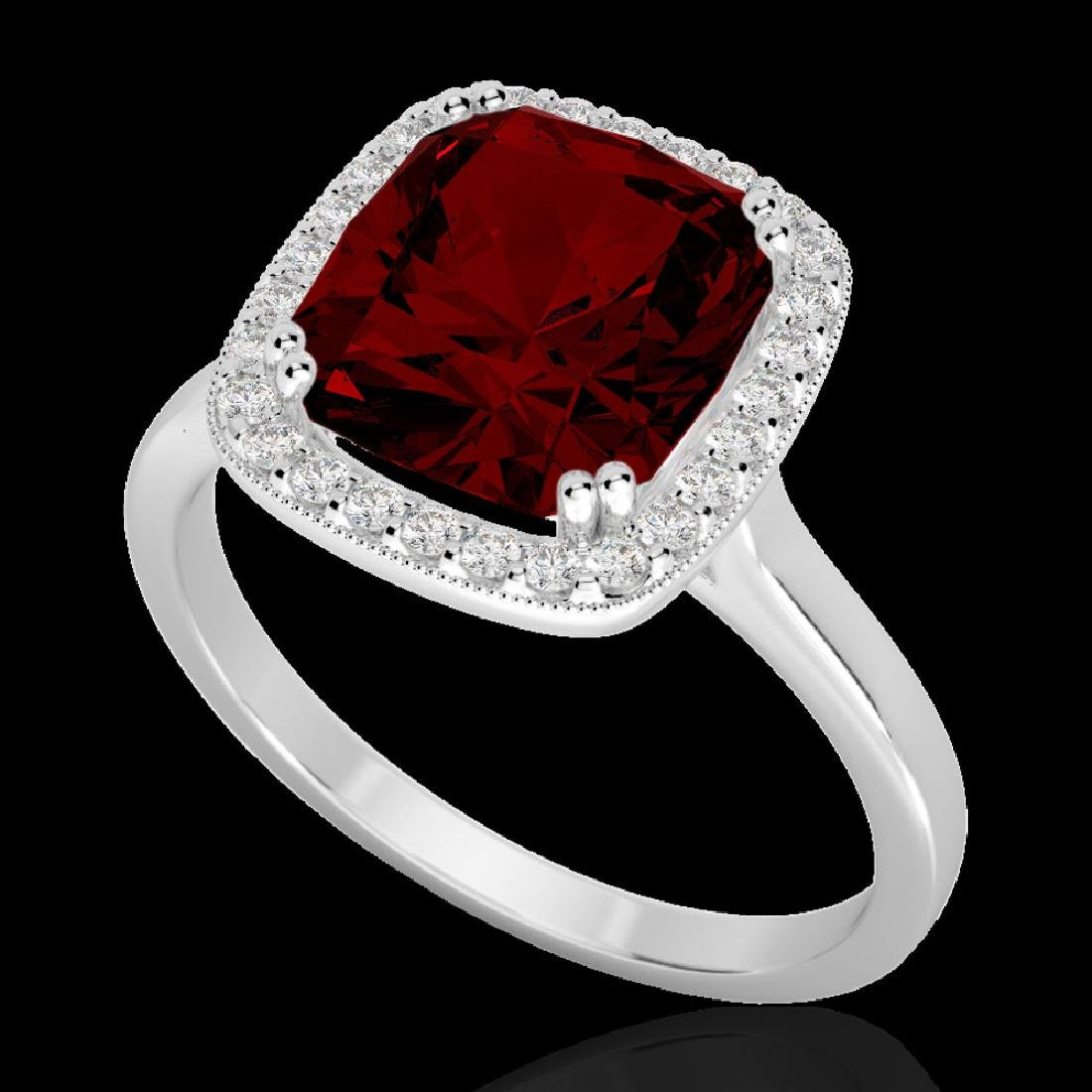 3 CTW Garnet & Micro Pave VS/SI Diamond Halo Ring 18K - 2