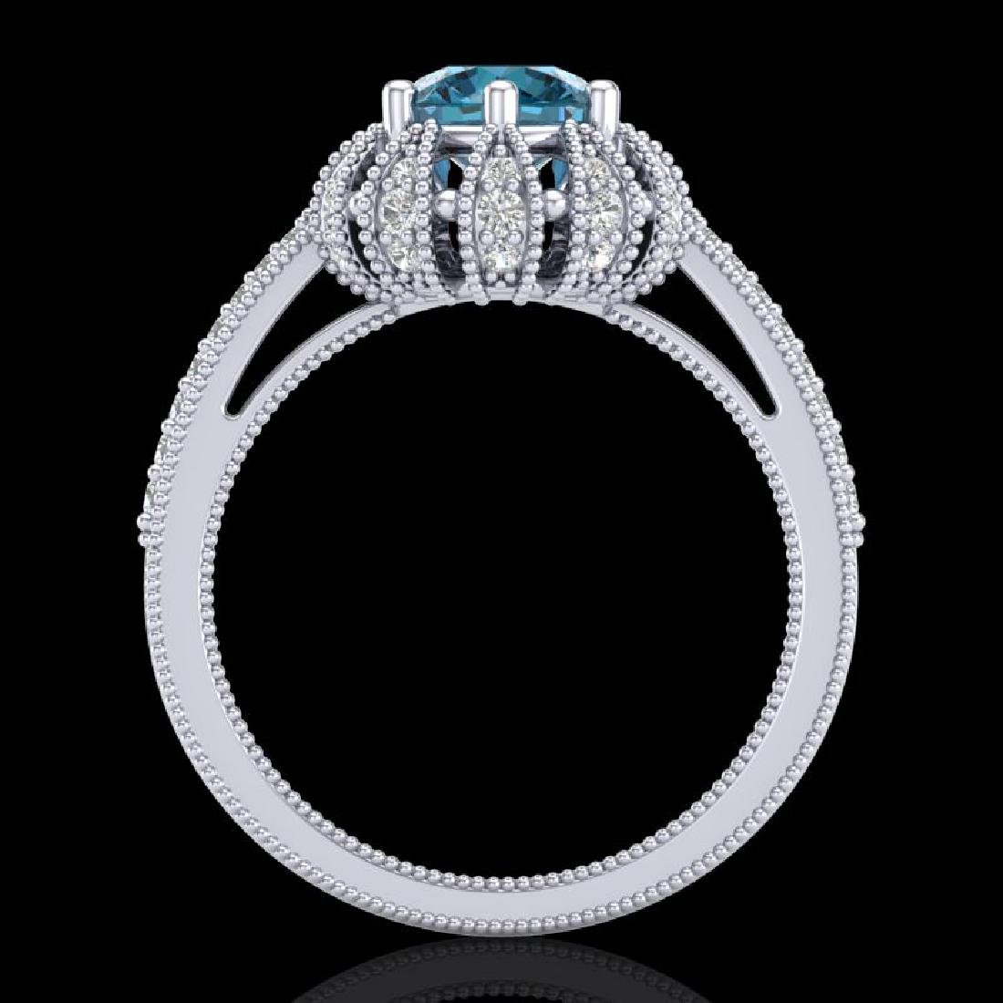 1.65 CTW Fancy Intense Blue Diamond Engagement Art Deco - 2