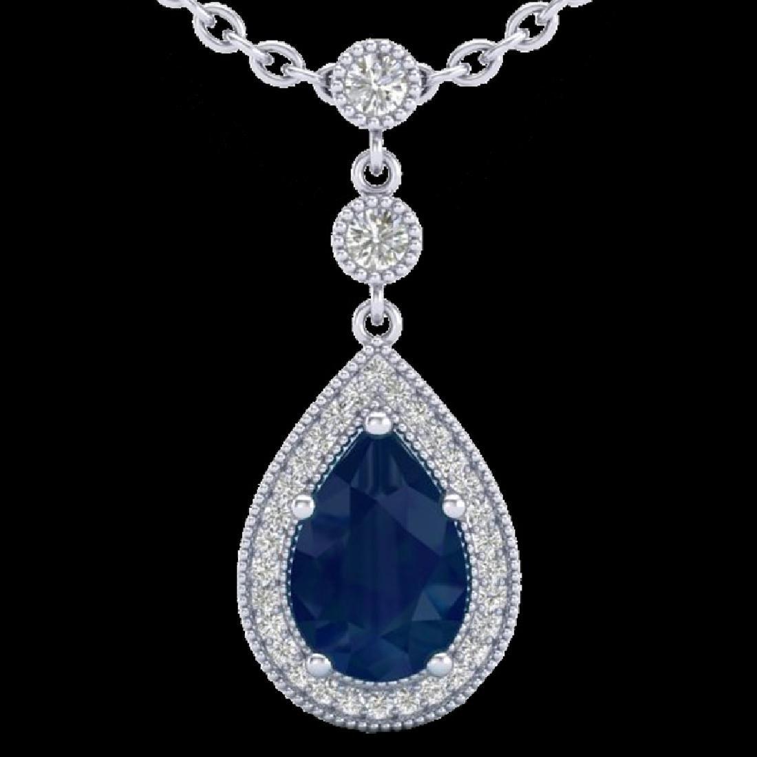2.75 CTW Sapphire & Micro Pave VS/SI Diamond Necklace - 2