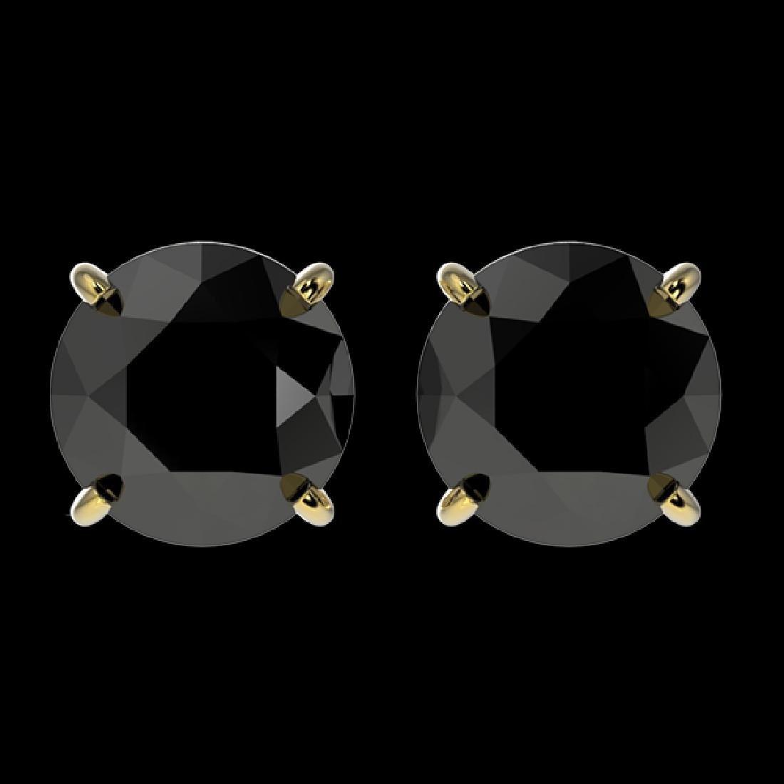2 CTW Fancy Black VS Diamond Solitaire Stud Earrings