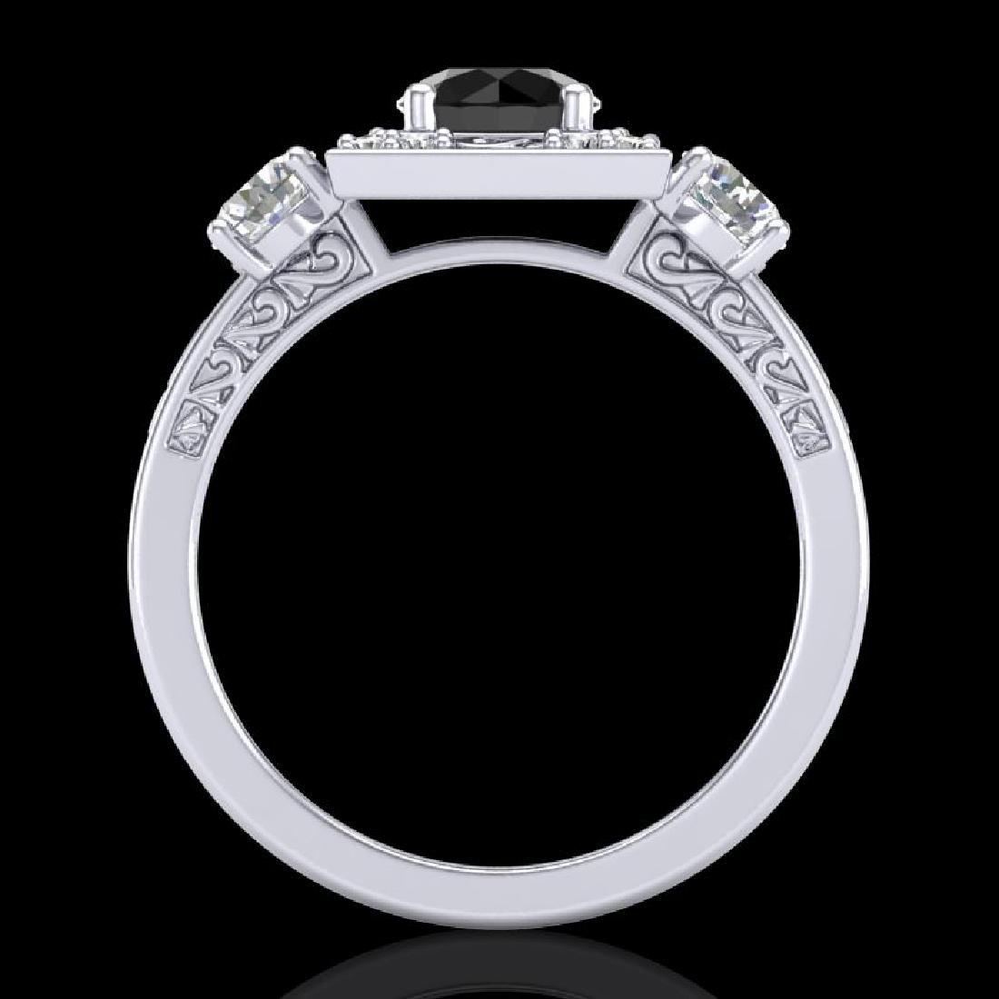 1.55 CTW Fancy Black Diamond Solitaire Art Deco 3 Stone - 3