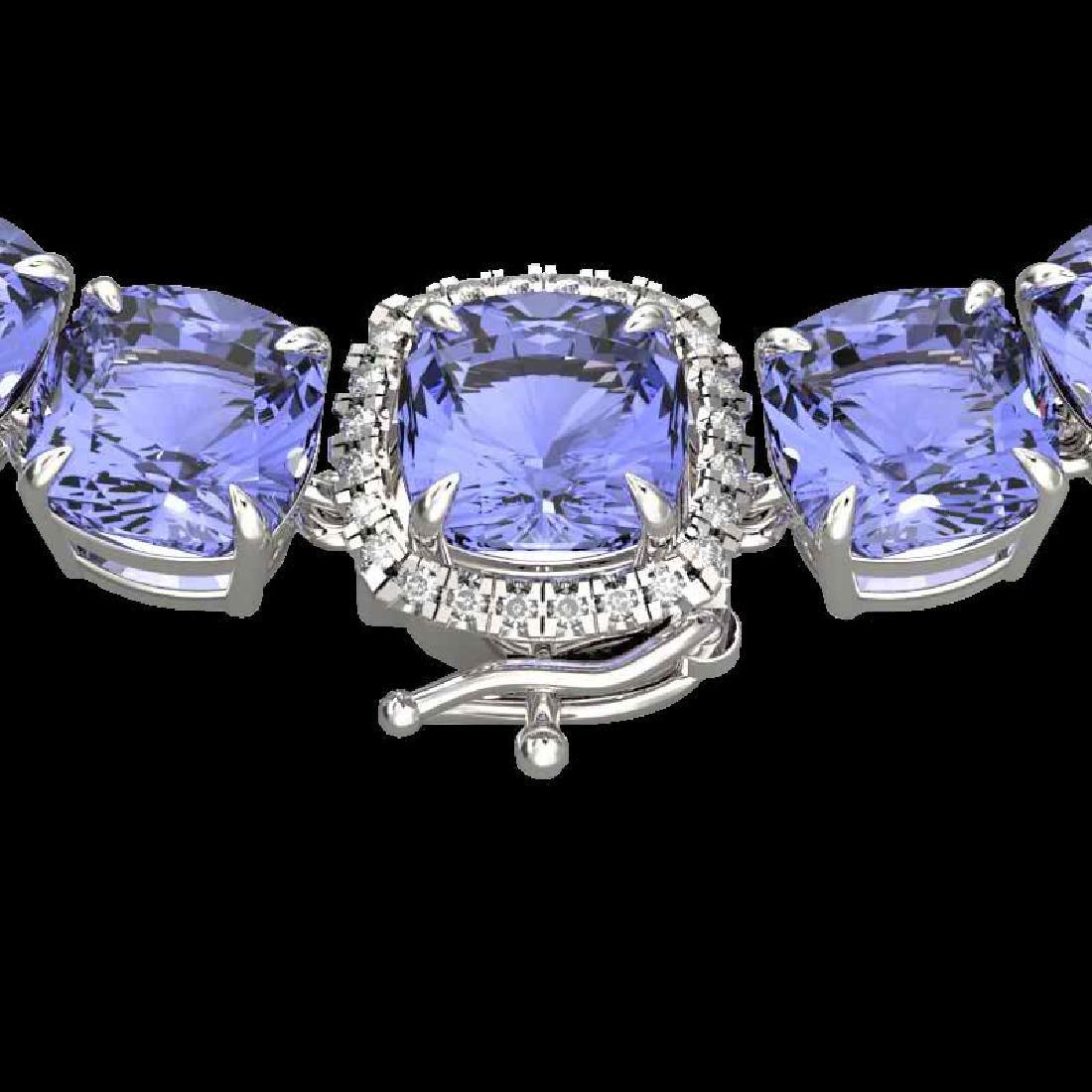 100 CTW Tanzanite & VS/SI Diamond Halo Micro Eternity