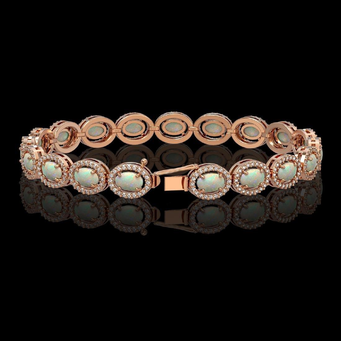 9.5 CTW Opal & Diamond Halo Bracelet 10K Rose Gold