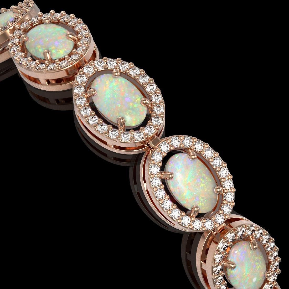 9.5 CTW Opal & Diamond Halo Bracelet 10K Rose Gold - 2