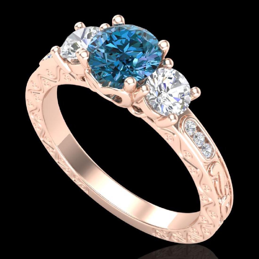 1.41 CTW Intense Blue Diamond Solitaire Art Deco 3