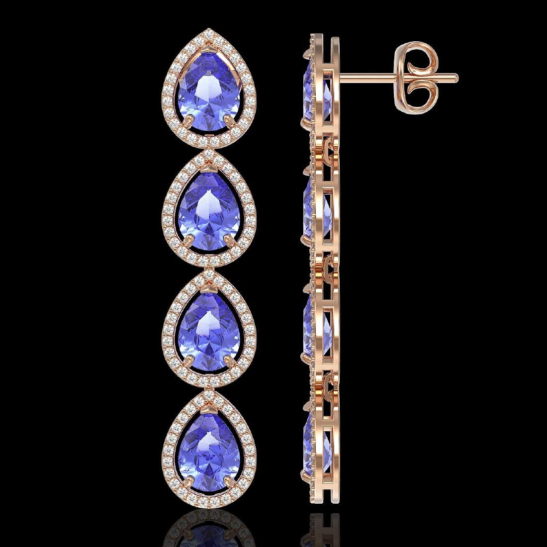11.2 CTW Tanzanite & Diamond Halo Earrings 10K Rose - 2