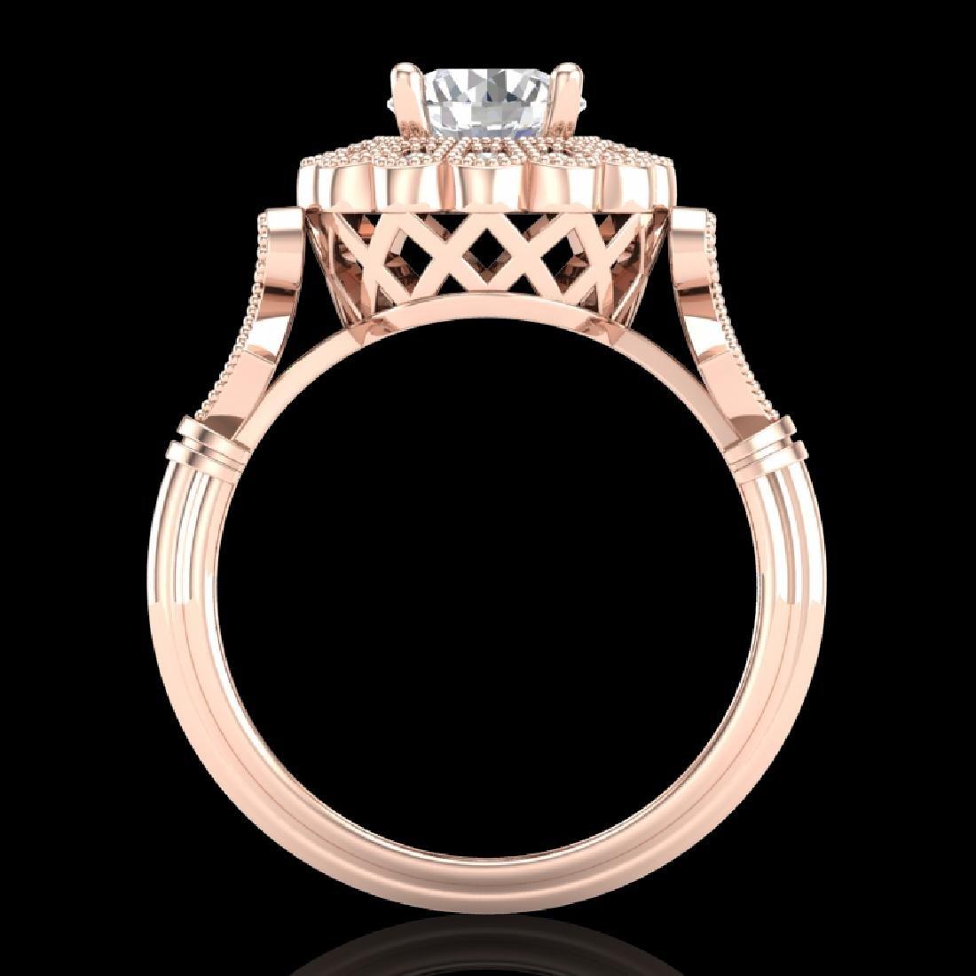 1.2 CTW VS/SI Diamond Solitaire Art Deco Ring 18K Rose
