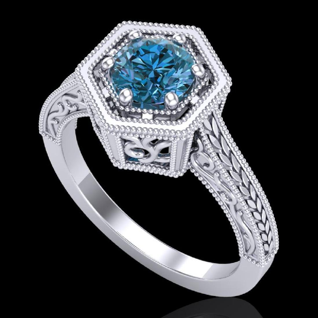 0.77 CTW Fancy Intense Blue Diamond Solitaire Art Deco