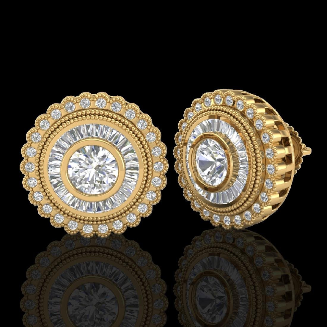 2.61 CTW VS/SI Diamond Solitaire Art Deco Stud Earrings - 2