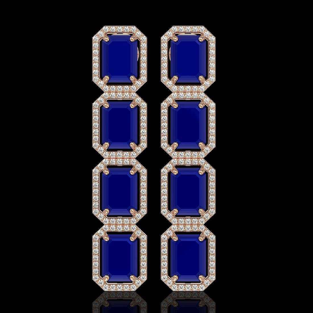 20.59 CTW Sapphire & Diamond Halo Earrings 10K Rose