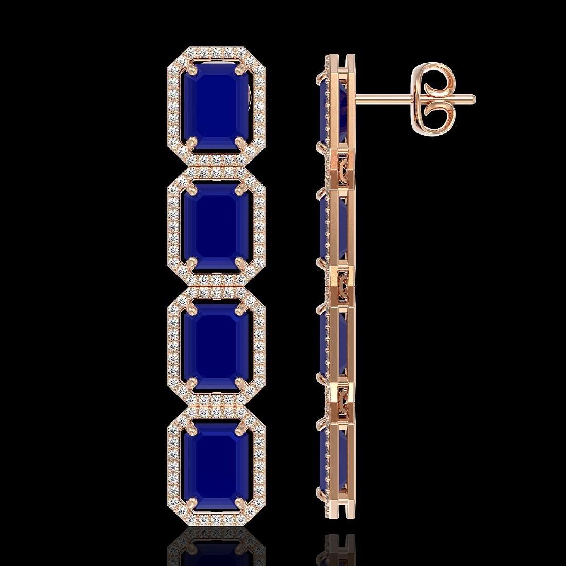 20.59 CTW Sapphire & Diamond Halo Earrings 10K Rose - 2
