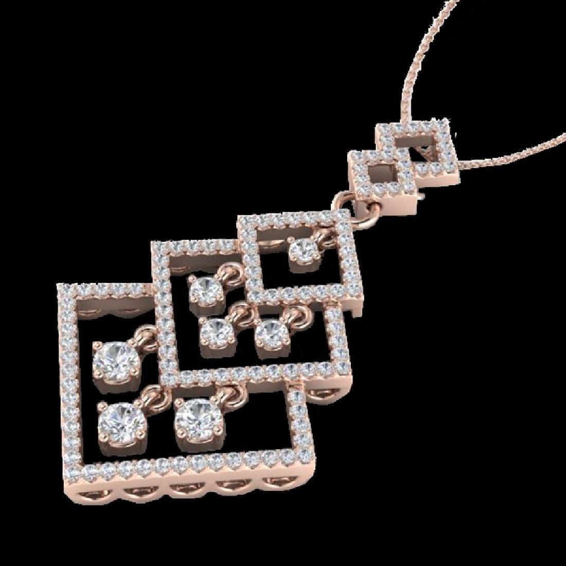 1.50 CTW Micro Pave VS/SI Diamond Necklace Dangling 14K