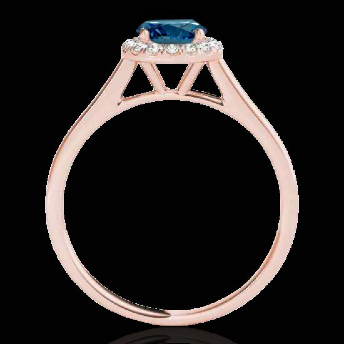 1.11 CTW SI Certified Fancy Blue Diamond Solitaire Halo - 2