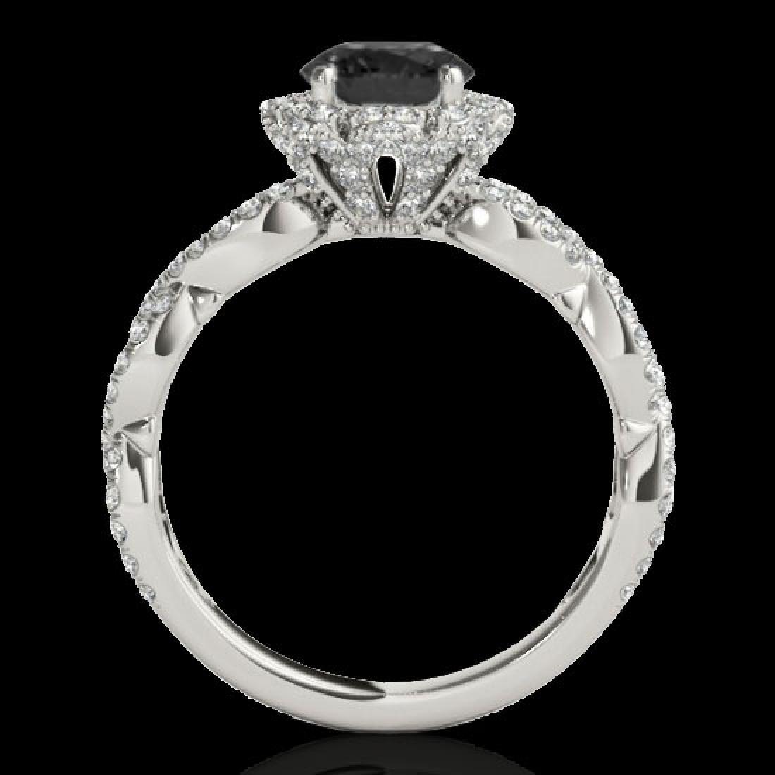 1.69 CTW Certified VS Black Diamond Solitaire Halo Ring - 2