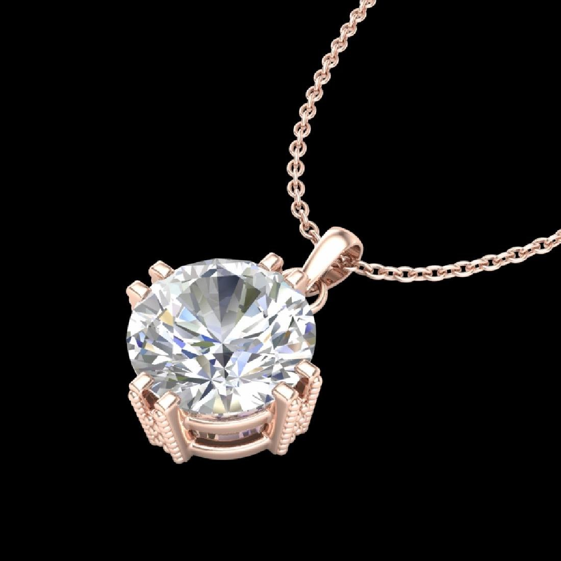 1 CTW VS/SI Diamond Solitaire Art Deco Stud Necklace - 2