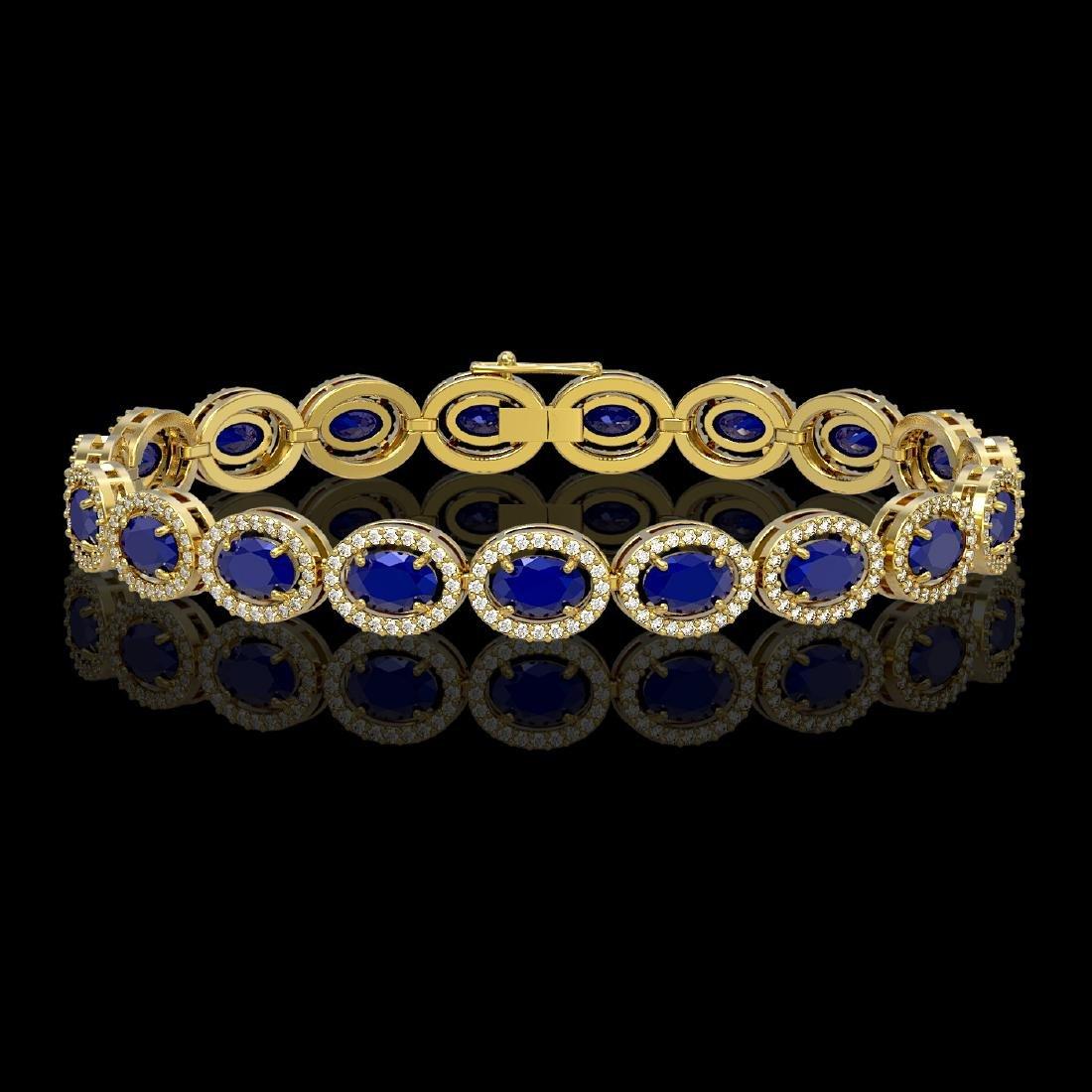 15.2 CTW Sapphire & Diamond Halo Bracelet 10K Yellow