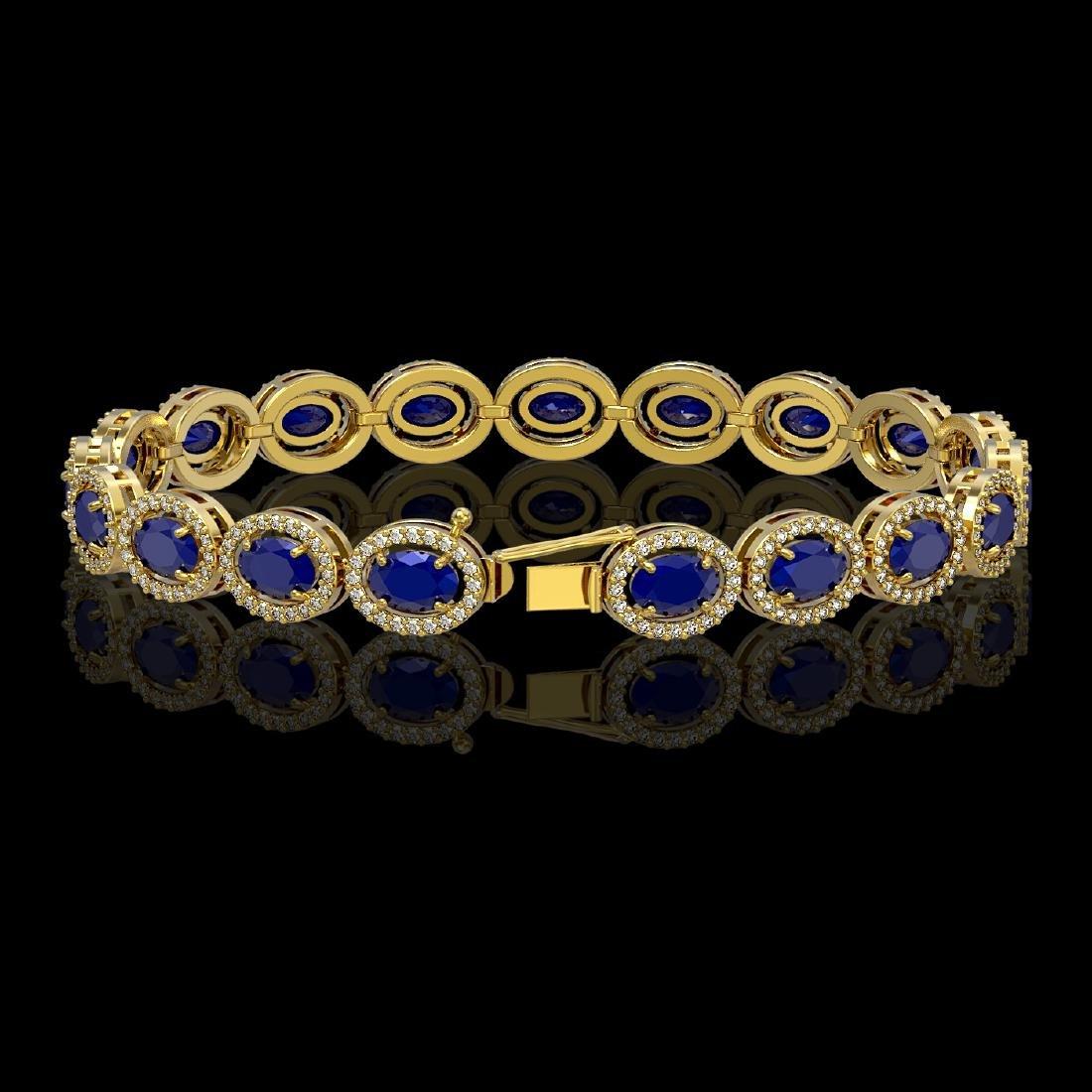15.2 CTW Sapphire & Diamond Halo Bracelet 10K Yellow - 2