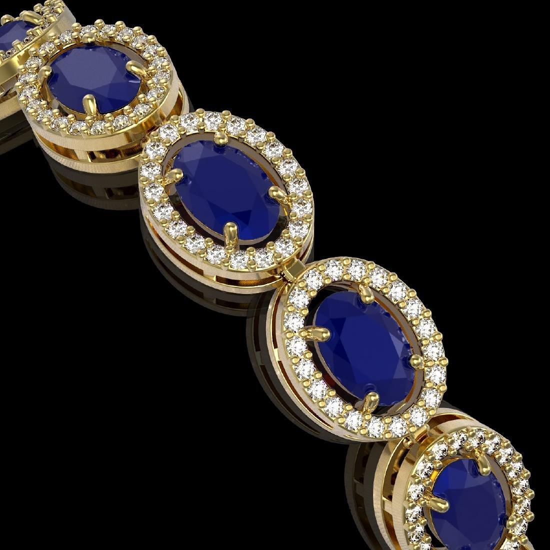 15.2 CTW Sapphire & Diamond Halo Bracelet 10K Yellow - 3