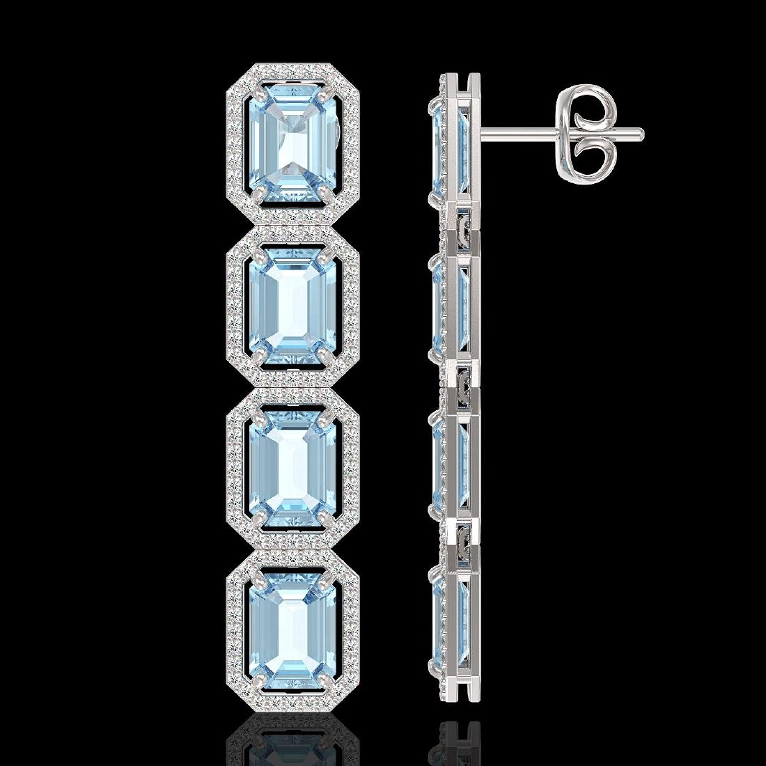 18.99 CTW Sky Topaz & Diamond Halo Earrings 10K White - 2