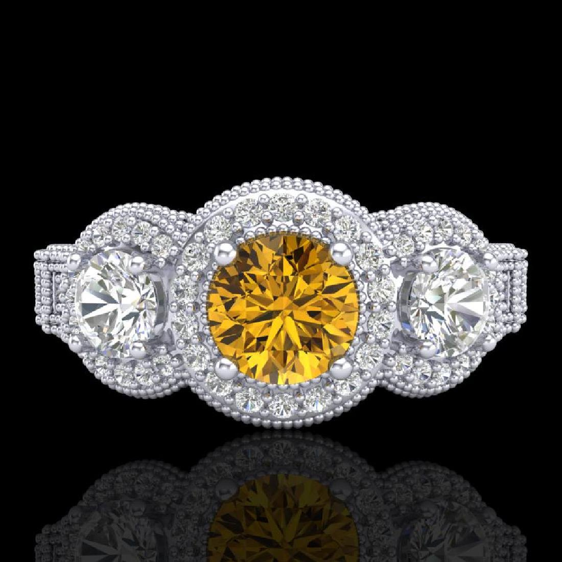2.16 CTW Intense Fancy Yellow Diamond Art Deco 3 Stone - 2