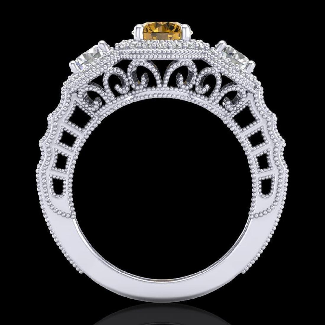 2.16 CTW Intense Fancy Yellow Diamond Art Deco 3 Stone - 3