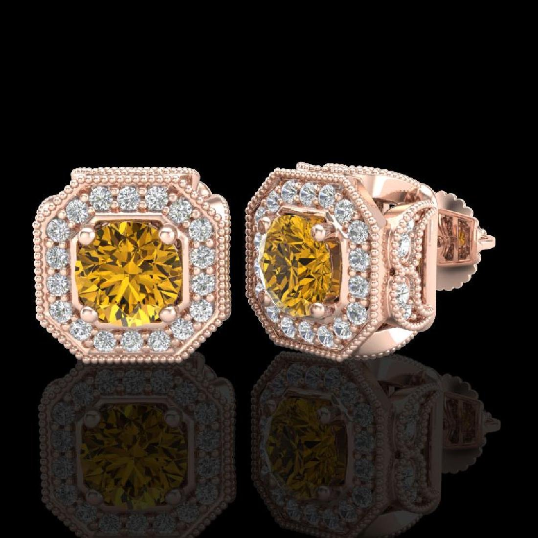 2.75 CTW Intense Fancy Yellow Diamond Art Deco Stud - 2