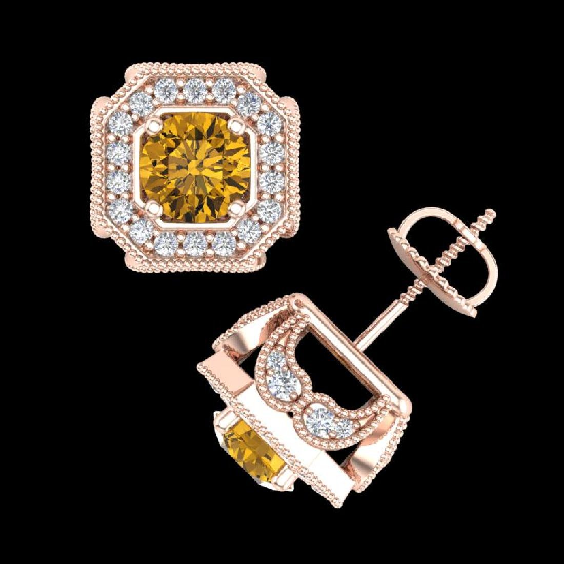 2.75 CTW Intense Fancy Yellow Diamond Art Deco Stud - 3